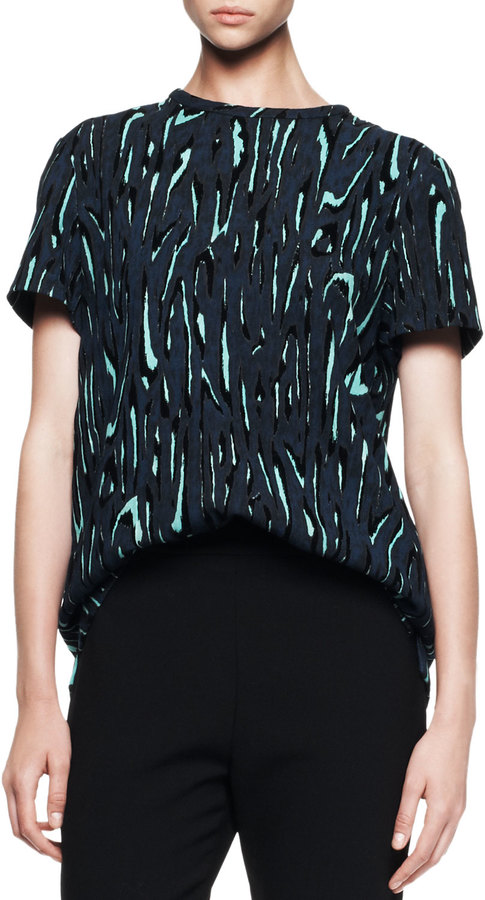Proenza Schouler Short-Sleeve Printed Flocked Blouse