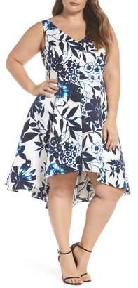 Eliza J Asymmetric Hem Fit & Flare Dress