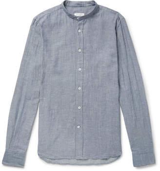 Incotex Jared Slim-Fit Grandad-Collar Cotton-Chambray Shirt