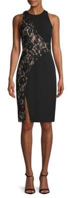 Aidan Mattox Lace Cut-Out Sheath Dress