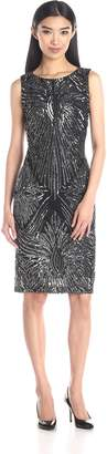 Marina Women's A O Sequin Placement Dress On Mesh with Keyhole At Center Back, Black/Silver