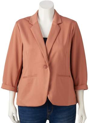 Lauren Conrad Plus Size Fitted Ponte Blazer