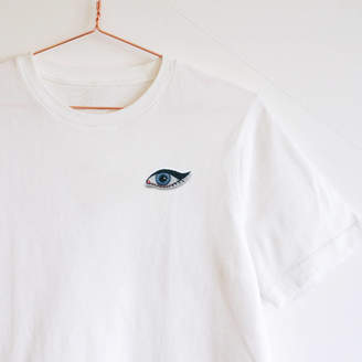 c911d793748b08 Lint & Thread Embroidered Winged Eye T Shirt Oversized Handmade