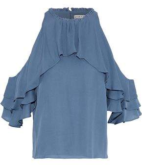 Alice + Olivia Ruffled Silk Top