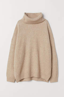 H&M Knit Cowl-neck Sweater - Beige