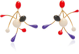 Marni Metal Earrings With Ceramic And Strass