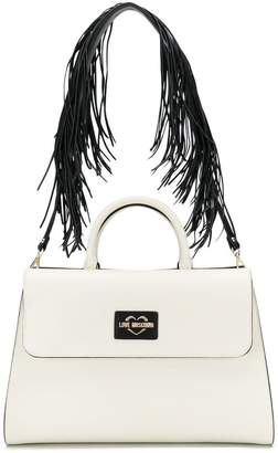 Love Moschino fringed strap tote