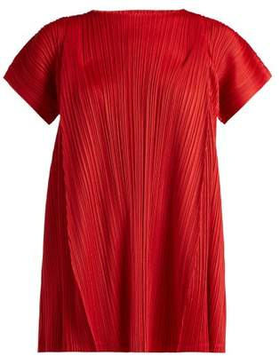 Pleats Please Issey Miyake Skew Pleated Tunic Top - Womens - Red