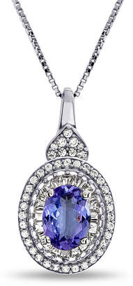FINE JEWELRY Womens Genuine Purple Tanzanite Sterling Silver Pendant Necklace