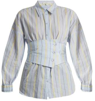Tibi Corset Detail Striped Cotton Blend Shirt - Womens - Blue Multi
