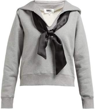 MM6 MAISON MARGIELA Ribbon Embellished Cotton Hooded Sweatshirt - Womens - Black Grey