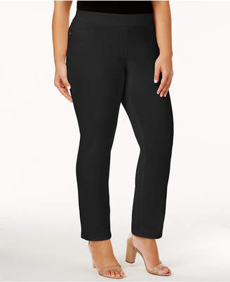 JM Collection Plus Size Tummy-Control Straight-Leg Pants, Created for Macy's