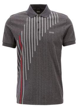 BOSS Hugo Regular-fit pinstripe polo shirt in mercerized cotton XXXL Charcoal
