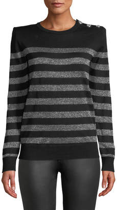 Balmain Crewneck Button-Shoulder Metallic-Striped Sweater