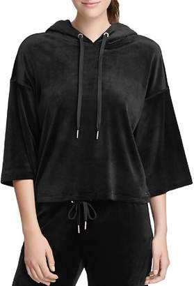 Donna Karan Velour Drop Shoulder Hoodie