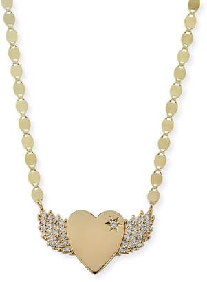 Lana 14k Small Diamond Wing Heart Pendant Necklace