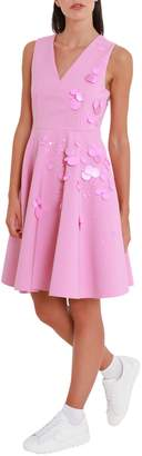 MSGM Short Dress With Full Skirt And Sequins Embellishment
