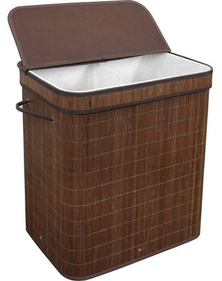 Laundry by Shelli Segal GreenCo Greenco Bamboo Foldable Double Hamper, Flip-top Lid, Side Rope Carrying Handles and Inner Liner With Divider- Espresso