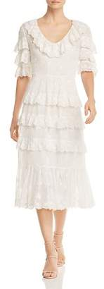 Rebecca Taylor Dree Ruffled Eyelet Crepe Midi Dress