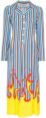 Prada Flame Printed Poplin Midi Shirt Dress