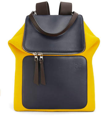 Loewe Men's Goya Expandable Colorblock Wool/Leather Backpack