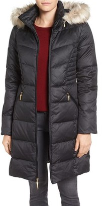 Women's Ellen Tracy Faux Fur Trim Matte Satin Down Coat $260 thestylecure.com