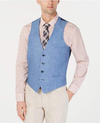Bar III Men Slim-Fit Chambray Linen Blue Suit Vest