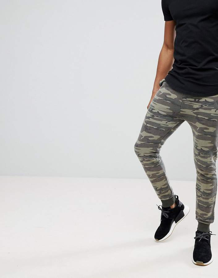 Asos Super Skinny Joggers In Washed Camo