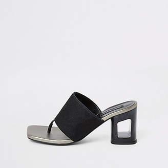 River Island Black leather toe thong mule heeled sandals