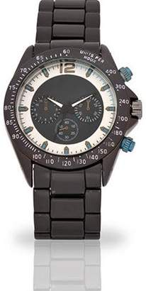 ACCUTIME WATCH CORP Men's Black and Sliver Face Fashion Watch, Black and Sliver Metal Band