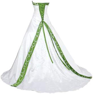 Vantexi Women's Elegant Strapless Embroidery Wedding Dress Bridal Gown White Green