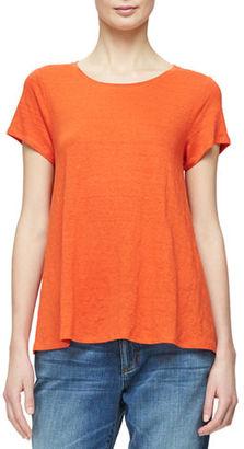 Eileen Fisher Short-Sleeve Organic Linen Jersey Tee, Petite $108 thestylecure.com
