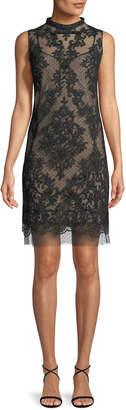 No.21 No. 21 Sleeveless Mock-Neck Lace Short Cocktail Dress