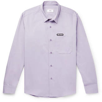 Ami Logo-appliquéd Cotton-twill Shirt - Lilac