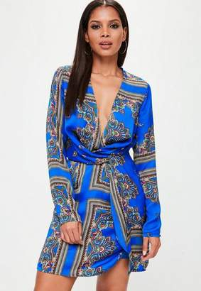 Missguided Tall Blue Silky Wrap Dress