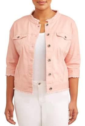Cherokee Women's Plus Size Cropped Rose Jean Jacket w/ Frayed Hem & Collar