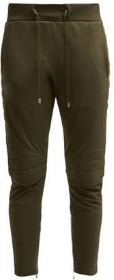 Balmain Biker Panelled Cotton Track Pants - Womens - Khaki