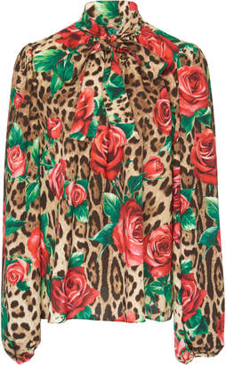 Dolce & Gabbana Floral And Leopard Crepe Pussybow Blouse