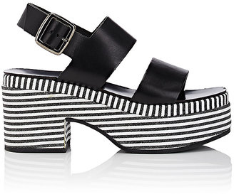 Barneys New York Women's Striped-Platform Leather Slingback Sandals $285 thestylecure.com