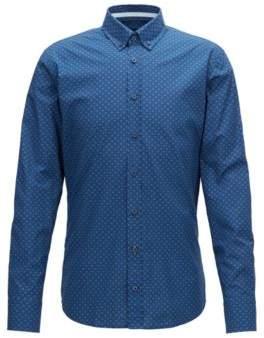 BOSS Hugo Slim-fit shirt in digitally printed cotton voile M Dark Blue