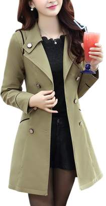 GFIONG Women Spring Double-Breasted Lapel Long Trench Coat Jacket Outwear
