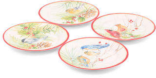 4pk Holiday Bird Melamine Plates