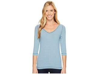 Royal Robbins Kickback to Front Stripe 3/4 Sleeve Top Women's Long Sleeve Pullover