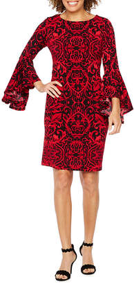 Ronni Nicole 3/4 Bell Sleeve Scroll Print Shift Dress
