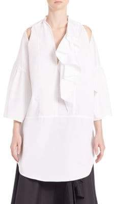 Tome Ruffled Cotton Cold-Shoulder Tunic