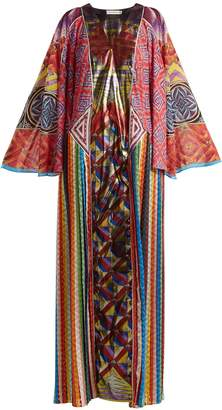 Mary Katrantzou V-neck long-sleeved zigzag-print dress