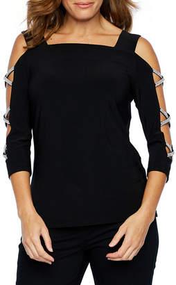 MSK 3/4 Sleeve Embellished Knit Blouse