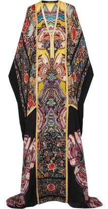 Roberto Cavalli Metallic-Trimmed Printed Silk-Chiffon Maxi Dress