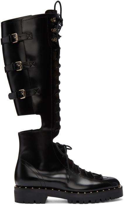 Valentino Black Valentino Garavani Soul Rockstud Knee-High Military Boots