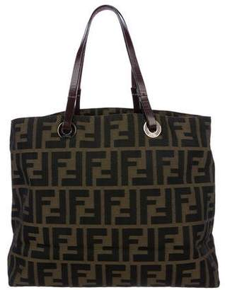 Fendi Leather-Trimmed Zucca Tote